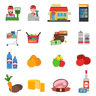 Supermarkt icons set