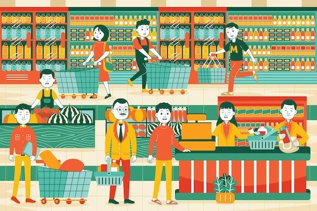 Supermarkt in vlakke stijl