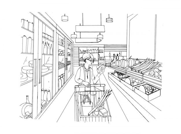 Supermarkt interieur met shopper meisje. kruidenier illustratie.