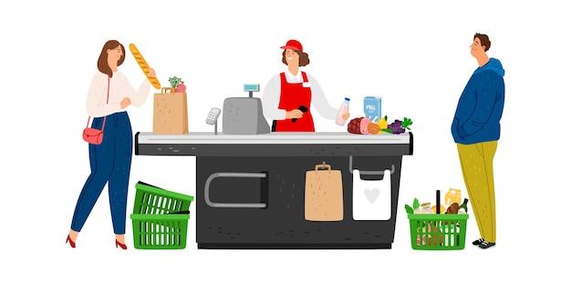 Supermarkt kassier. wachtrij in winkel, vrouw zet eten in zak.