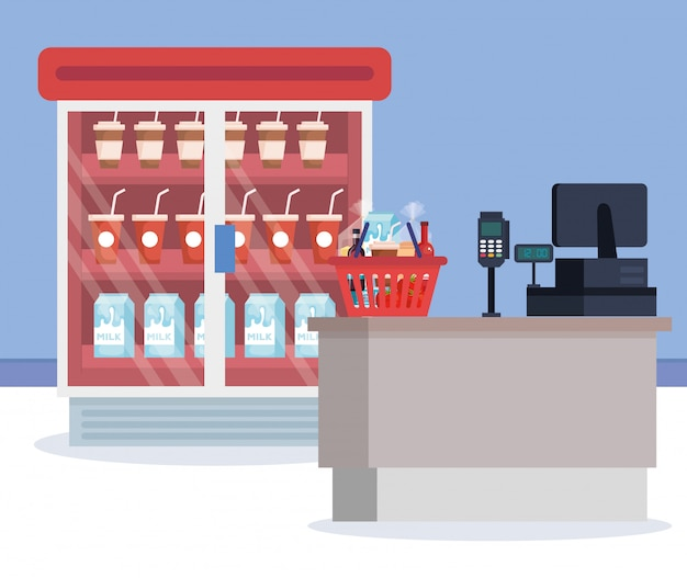 Supermarkt koelkast met producten en verkooppunt