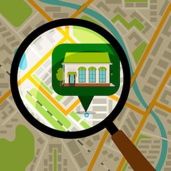 Supermarkt locatie op plattegrond van de stad. opslagvoorzijde over de gekleurde vectorillustratie van de stadskaart