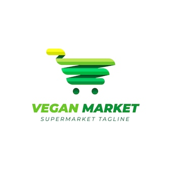 Supermarkt logo-ontwerp met groene kar