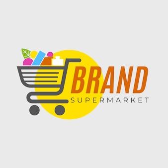Supermarkt logo sjabloon met winkelwagentje
