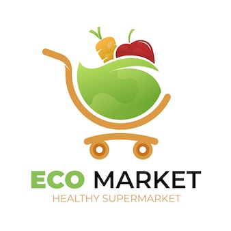 Supermarkt logo sjabloonontwerp
