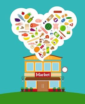 Supermarkt met een grote verzameling verschillende soorten voedsel?