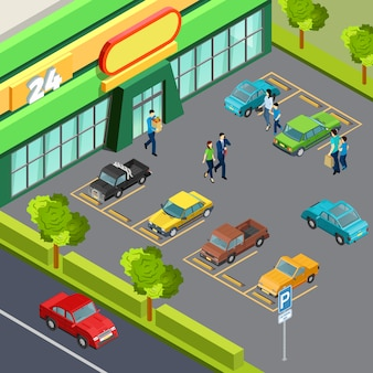 Supermarkt met parkeerplaats