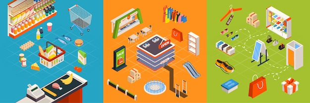 Supermarkt meubilair isometrische set