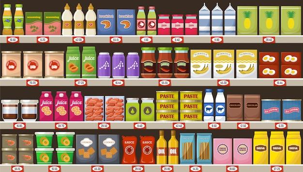 Supermarkt, planken met producten en drankjes