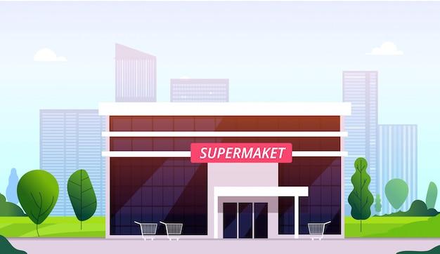Supermarkt straat. hypermarkt die het voor van de de bouw stedelijke winkel van de bedrijfscentrumwinkel buitenbeeld van de supermarkt kleinhandelswinkel bouwen