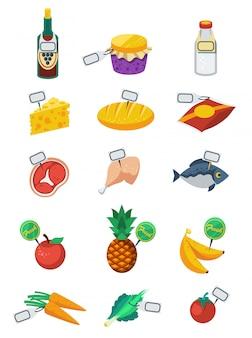 Supermarkt vlakke kleur icons set