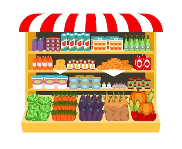 Supermarkt. voedsel op planken aubergine kool wortel paprika uien maïs brood aardappelen. winkelen en vers. vector illustratie