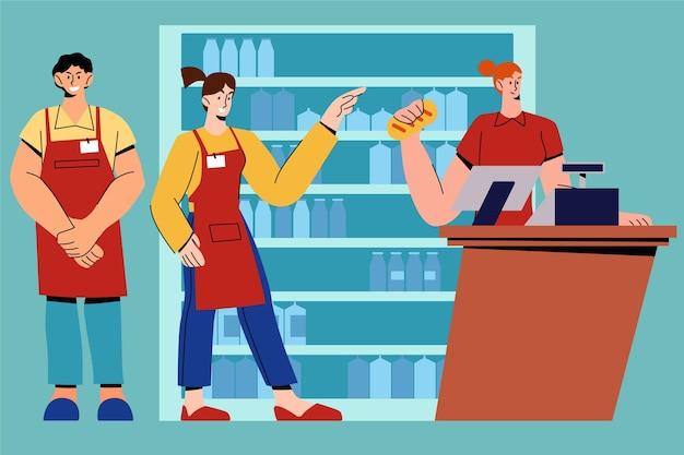 Supermarkt werknemers instellen