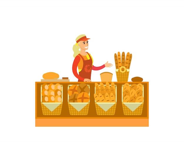 Supermarkt winkel bakkerij afdeling vrouw vector
