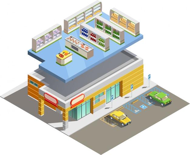 Supermarkt winkel gebouw isometrisch buitenaanzicht