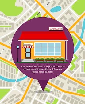 Supermarkt winkel punaise boven de plattegrond van de stad. vector navigatie illustratie