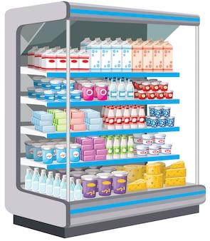 Supermarkt. zuivelproducten. vector