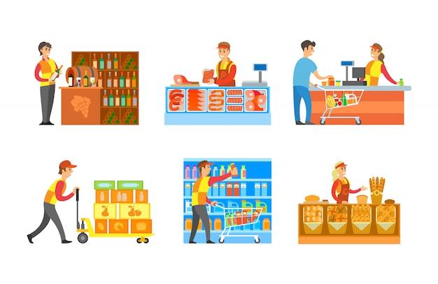 Supermarktafdelingen wijnmakerij en bakkerij
