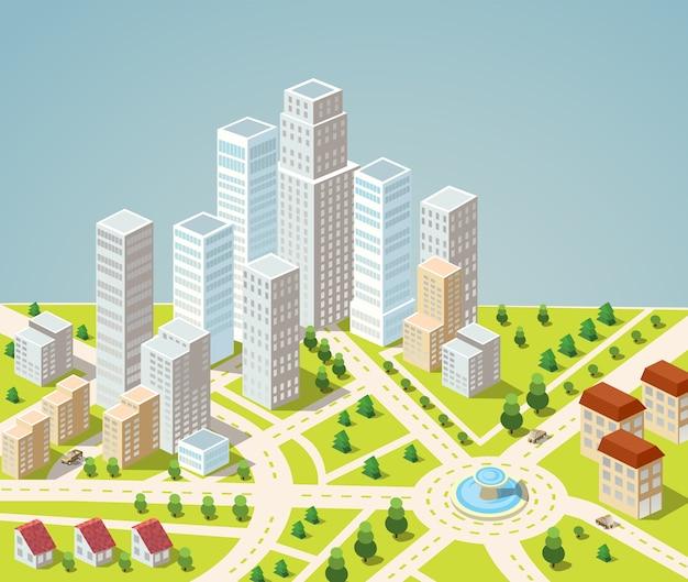 Supermarkten, wolkenkrabbers en kantoorgebouwen in stedelijke gebieden van grote steden
