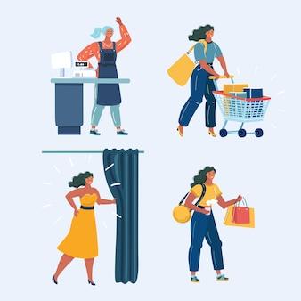 Supermarktklanten stripfiguren