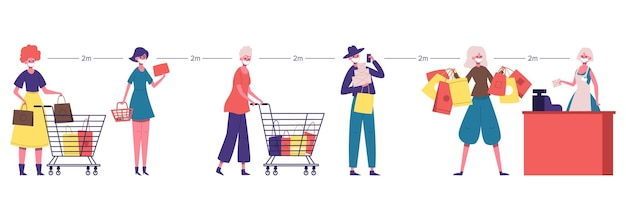 Supermarktlijn. sociale mensen staan in de rij, veilige afstand bij de supermarkt