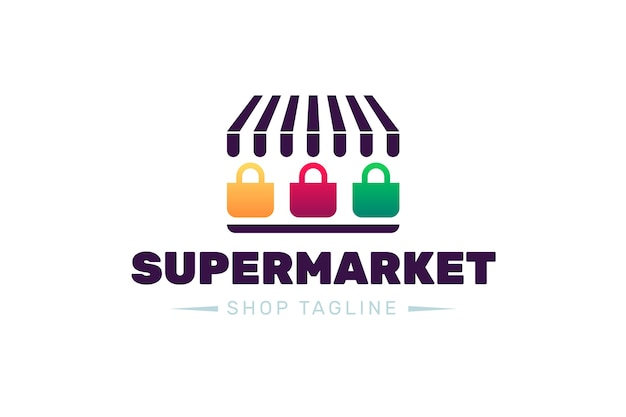 Supermarktlogo-ontwerp met slogan van de winkel