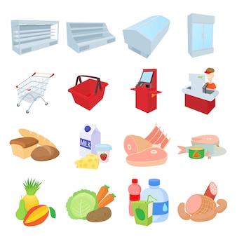 Supermarktpictogrammen in de vector van de beeldverhaalstijl worden geplaatst die