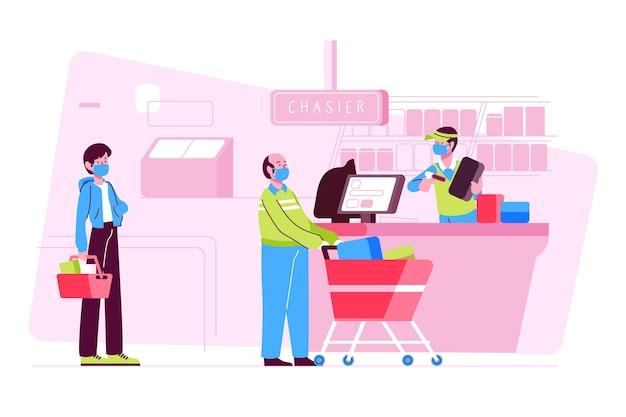 Supermarktrij met veiligheidsafstand