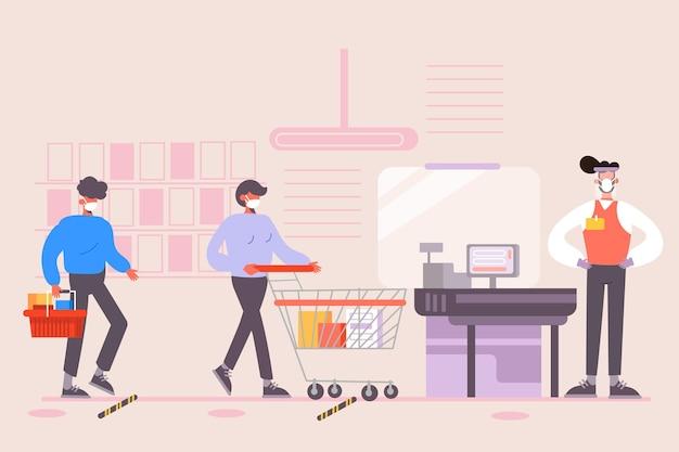 Supermarktrij met veiligheidsconcept afstand