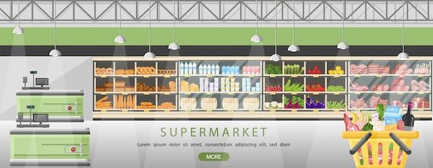 Supermarkttribunes met voedingsmiddelen