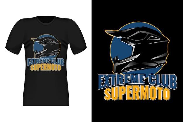 Supermoto extreme club handgetekende stijl vintage t-shirtontwerp
