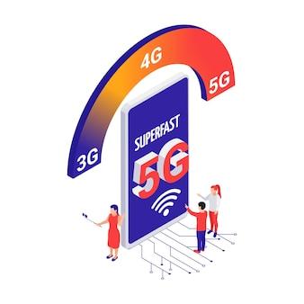 Supersnel 5g internetconcept met smartphone en mensen 3d isometrische vectorillustratie