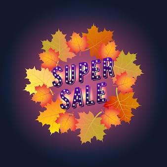 Superverkoop banner. herfst. papierontwerp. esdoorn bladeren