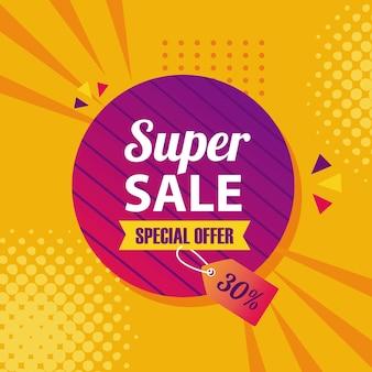 Superverkoop in zegelzegelontwerp, verkoopaanbieding winkelen en kortingsthema-illustratie
