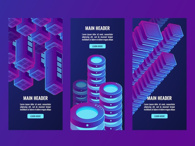 Supervioletbanners, digitale gegevens en futuristische technologie, serverruimte, cloudopslag