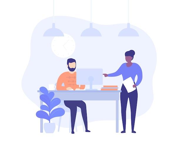 Supervisor en werknemer werken op computer, bedrijfsconcept