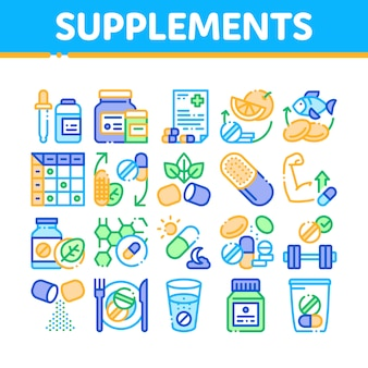 Supplementen verzameling elementen icons set