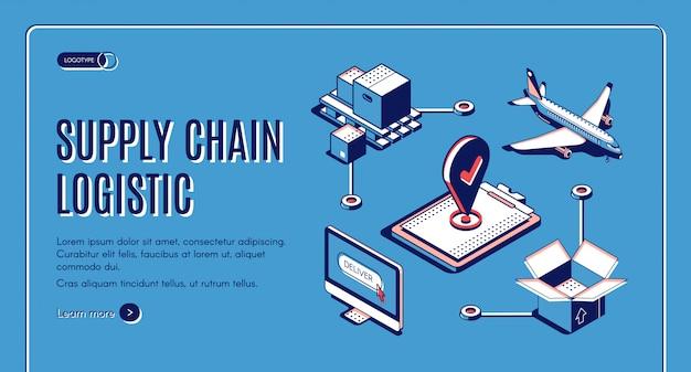Supply chain logistieke isometrische landingspagina, vliegtuigvrachtvervoer, goederenafleveringsproces