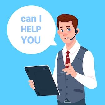 Support center headset agent man client online operator klant en technische dienst pictogram chat concept