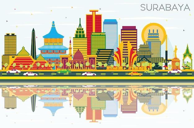 Surabaya indonesië skyline met kleur gebouwen, blauwe lucht en reflecties. vectorillustratie. zakelijk reizen en toerisme concept met moderne architectuur. surabaya stadsgezicht met monumenten.