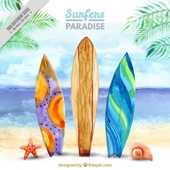 Surf landschap op het strand achtergrond in aquarel effect