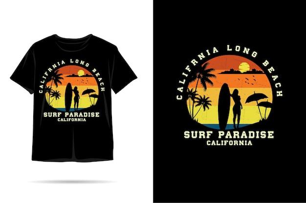 Surf paradijs californië silhouet t-shirt ontwerp