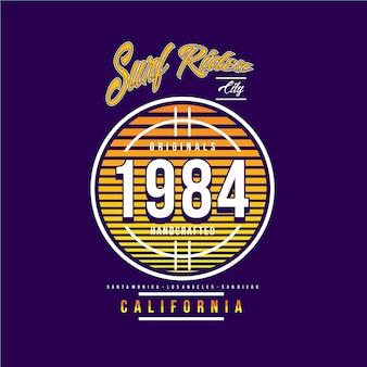 Surf ruiter californië strand grafische typografie