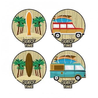 Surf tijd cartoon set