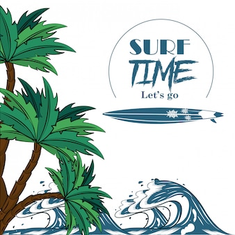 Surf tijd thema poster