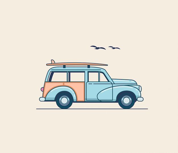 Surfen auto. retro blauwe suv-vrachtwagen met surfplank op het imperiaal dat op witte achtergrond wordt geïsoleerd. zomertijd vakantie illustratie voor poster of kaart of t-shirt design. flat stijl illustratie