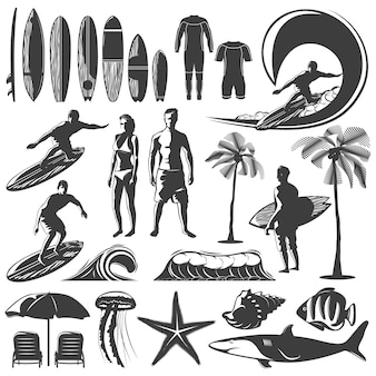 Surfen icon set