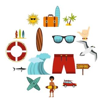 Surfen iconen set, vlakke stijl