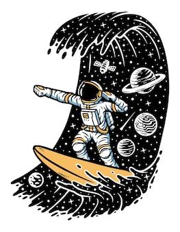 Surfen in ruimteconcept op wit wordt geïsoleerd dat