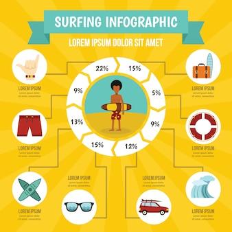 Surfen infographic concept, vlakke stijl